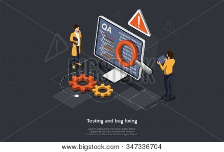 Isometric Concept Of Research And Develop Of Mobile Application. People Are Testing And Bug Fixing I