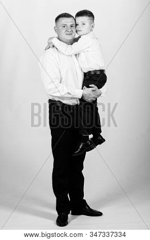 Couturier In Tuxedo Style. Wedding Party. Father And Son In Formal Suit. Happy Child With Father. Bu