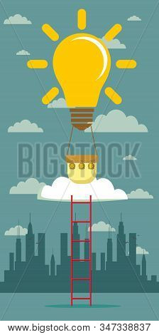 Idea Balloon With A Ladder. Stock Flat Vector Illustration.