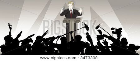Vector illustration of a speaker addresses an audience in a political campaign