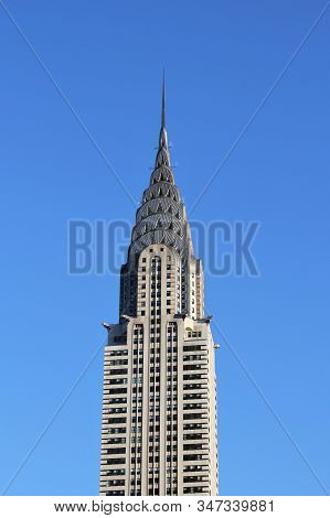 New York, US - 20/12/2019: Chrysler Building is an Art Deco-style skyscraper located in the Turtle B