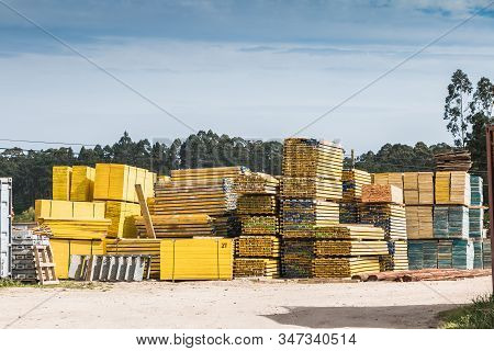 Pallet Wood Storage In A Company In Vila Cha, Portugal