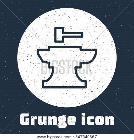 Grunge Line Anvil For Blacksmithing And Hammer Icon Isolated On Grey Background. Metal Forging. Forg