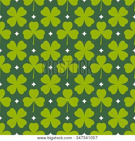 Clover Leaves Seamless Pattern. Green Shamrock Spring Background. Happy St Patricks Day Design. Cute