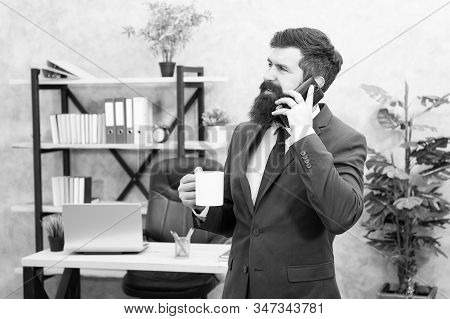 Coffee Is Pledge Of Successful Negotiations. Caffeine Addicted. Man Bearded Businessman Hold Cup And