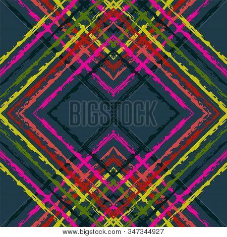 Indigo Fashion Ikat Vector Seamless Pattern. Ogee Ikat Japan Design. African Stripe Design. Blue Bat