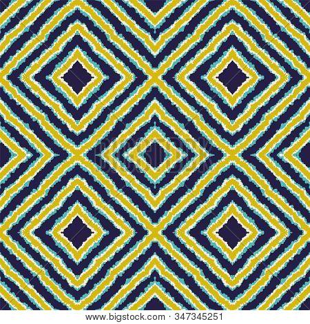 Indigo Trendy Batik Vector Seamless Pattern. Retro Tie Dye Indian Texture. Aztec Psychedelic Wallpap
