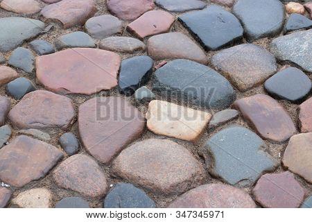 Cobblestone Road. Multicolored Cobblestone Texture. Modern Road