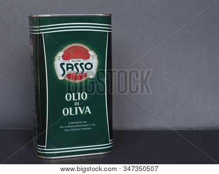 Florence - Jan 2020: Olio Sasso Italian Olive Oil Tin Can