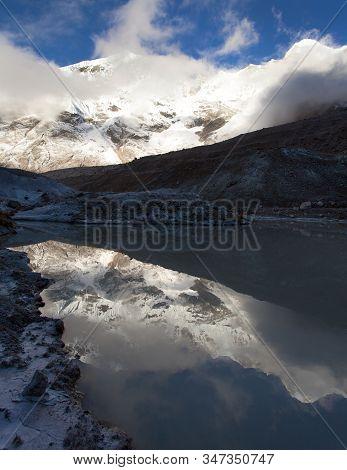 Evening View Of Peak Seven 7 Vii Mirroring In Lake, Beautiful Mount On The Way To Makalu Base Camp,