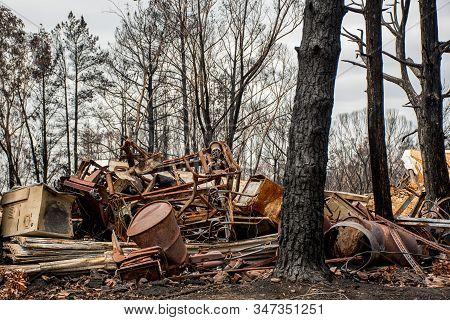 Australian Bushfire Aftermath: Burnt Debris And Rubble At Balmoral Village, Australia
