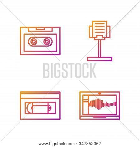 Set Line Sound Or Audio Recorder On Laptop, Vhs Video Cassette Tape, Retro Audio Cassette Tape And M
