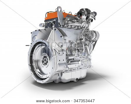 3d Rendering Orange Engine For Car Assembly On White Background With Shadow