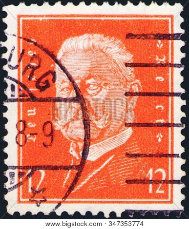 Saint Petersburg, Russia - January 26, 2020: Stamp Issued In The Germany With A Portrait Of Paul Von