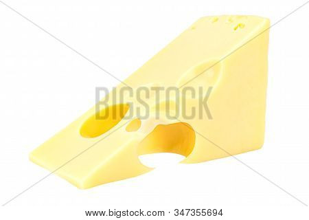 Lying Triangular Piece Of Maasdam Cheese Isolated On A White Background