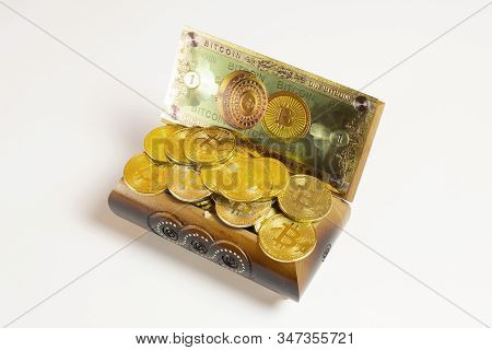 Golden Bitcoin Coins And Banknote In The Treasure Trove, Cryptocurrency In Wooden Chest, Gift, Decor