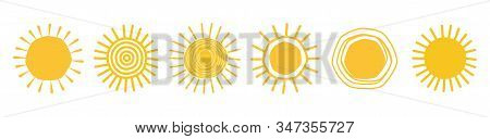 Doodle Sun Icons. Hot Weather Suns Collection Vector Illustration, Summer Scribbled Sun Doodles With