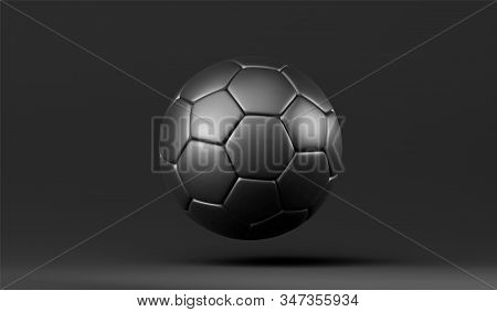 Vector 3d Black Soccer Ball. Leather Football Ball On Black Background. Football 3d Ball.