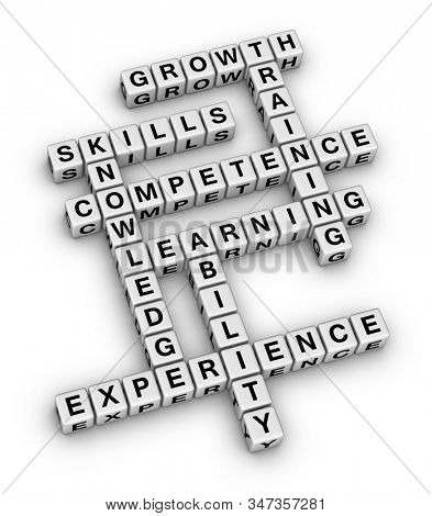 Personal Skills Concept Word Cloud. 3D cubes crossword puzzle on white background.