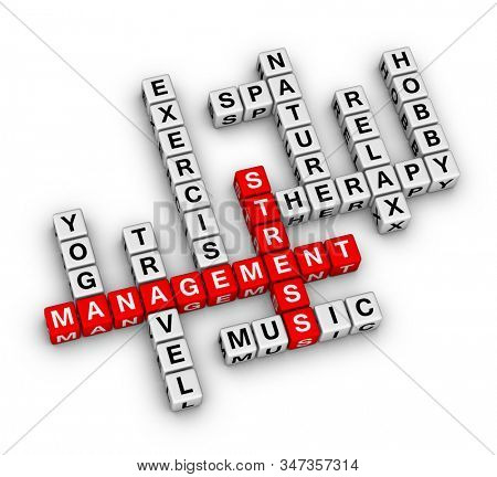 Stress Management Word Cloud. 3D cubes crossword puzzle on white background.