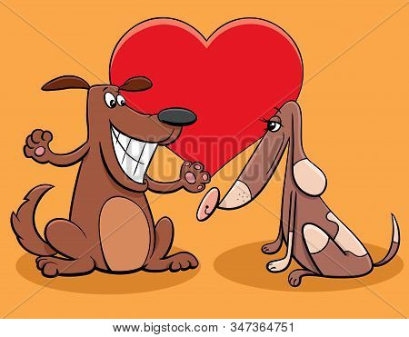 Valentines Day Greeting Card Cartoon Illustration With Funny Dog Couple Characters In Love