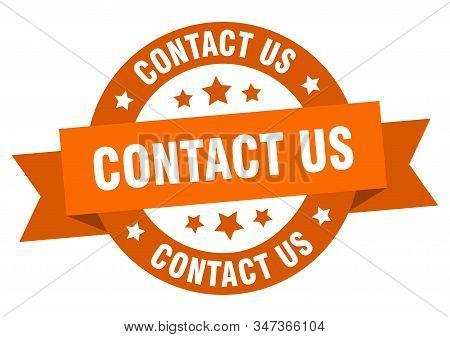 Contact Us Ribbon. Contact Us Round Orange Sign. Contact Us