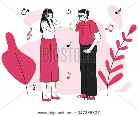 Music Listeners Meeting Vector Illustration. Good Mood, Pleasure, Positive Emotions. Smiling Young C