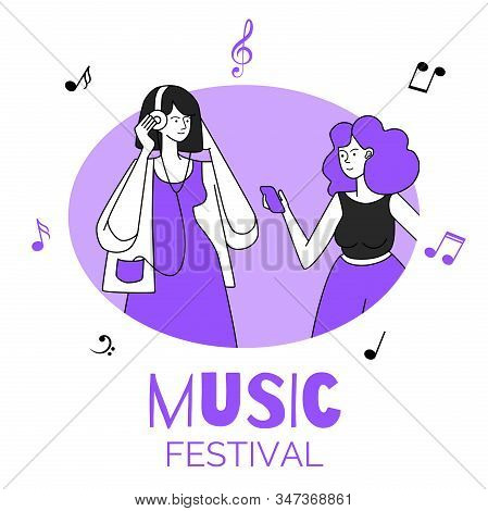 Girls In Circular Frame Vector Illustration. Music Festival, Party, Discotheque, Event. Young Female