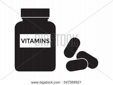 Vitamins Bottle With Pills. Multivitamin Complex Supplement. Black Silhouette Isolated On White Back
