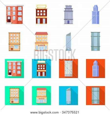 Vector Illustration Of Municipal And Center Sign. Collection Of Municipal And Estate Vector Icon For