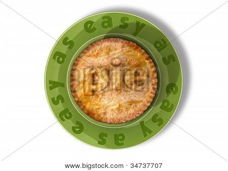 A top view of a pie on a green plate with the words easy as written on the plate and pie in pastry on the pie poster