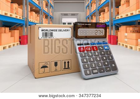 Parcel With Calculator In Warehouse, 3d Rendering