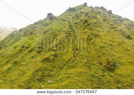Mount Pelee Green Volcano Hillside With Hiking Trail Full Of Tourists, Martinique,  French Overseas