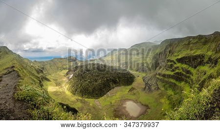 La Soufriere Volcano Crater Panorama With Tuff Cone Hidden In Green, Saint Vincent And The Grenadine