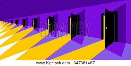Different Doors Half Open Symbolizes Diversity Of Variants And Choosing Alternate Options Vector Ill