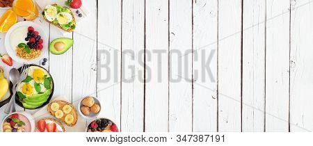 Healthy Breakfast Food Banner With Side Border. Table Scene With Fruit, Yogurt, Smoothie, Nutritious