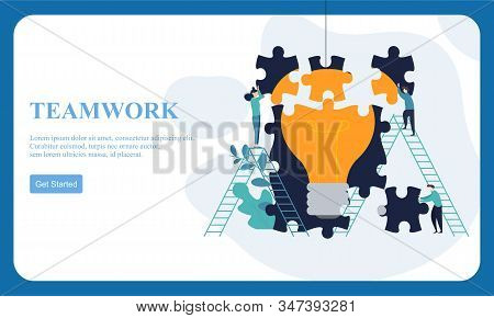 Flat Dessign Business Hands Team Work. Find A Solution With Puzzle Symbol. Connecting With Puzzle El