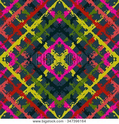 Indigo Drawing Tribal Vector Seamless Pattern. Drawn Carpet Traditional Ornament. Aztec Boho Ornamen