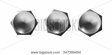 Metal Bolt Heads Set, Shiny Caps. Twisted In Surface Isolated On White Background. Macro Chrome Top