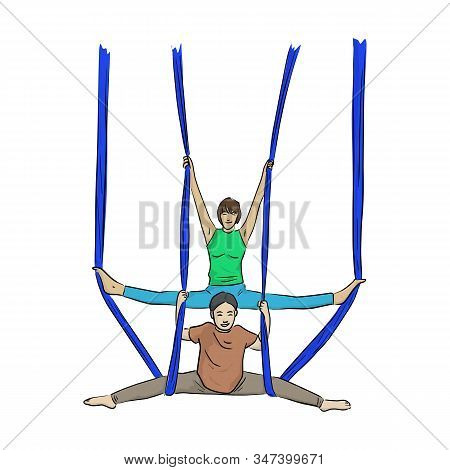 Woman And Daughter Doing Anti-gravity Yoga Exercises In Hammocks Vector Illustration Sketch Doodle H