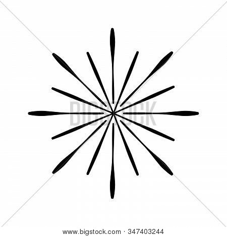 Retro Sun Burst Shape And Vintage Hand Drawn Sunburst Explosion. Light Rays Of Burst. Vintage Logo,