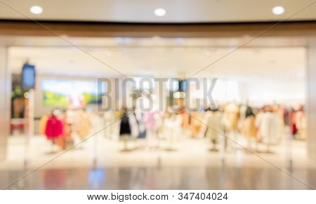 Abstract Blurred Background, Blur Display Clothing Store In Shopping Mall With Bokeh Light, Defocuse