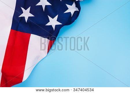 Us American Flag On Blue Background. For Usa Memorial Day,  Memorial Day, Presidents Day, Veterans D
