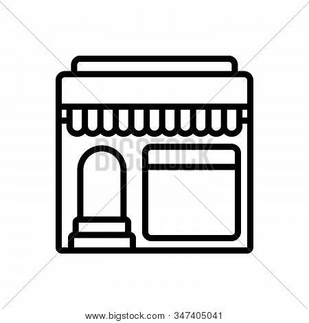 Black Line Icon For Restaurant Shop Cafe Food Mess Canteen Restaurateur
