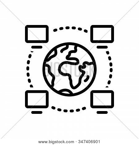 Black Line Icon For Operability Project Management Network Software Technological Multicast Cyber Se