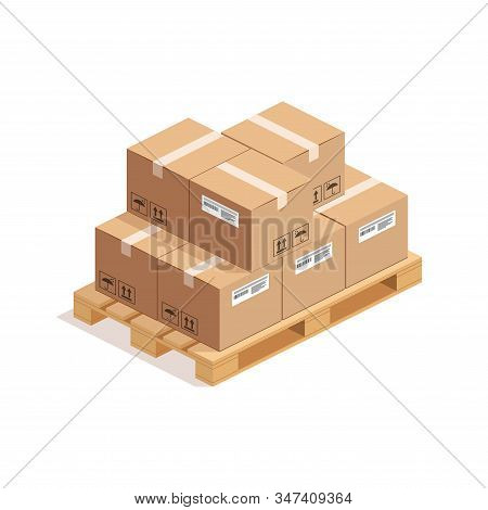 Isometric Wooden Pallet With Big Stack Of Cardboard Boxes Isolated On Whte Background. 3d Warehouse