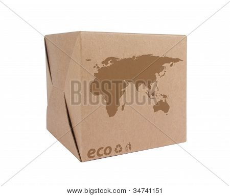 Cardboard Box With Icon Ecological Map Euro+asia