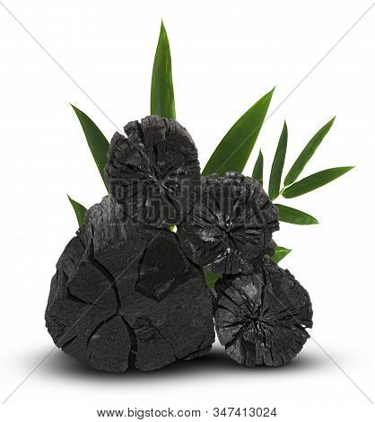 Natural Wood Charcoal, Traditional Charcoal Or Hard Wood Charcoal Isolated On White Background,with