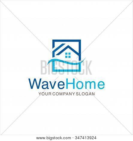 Wave Real Estate Logo Design Vector Stock. Wave House Logo .wave Home Logo Icon Vector.