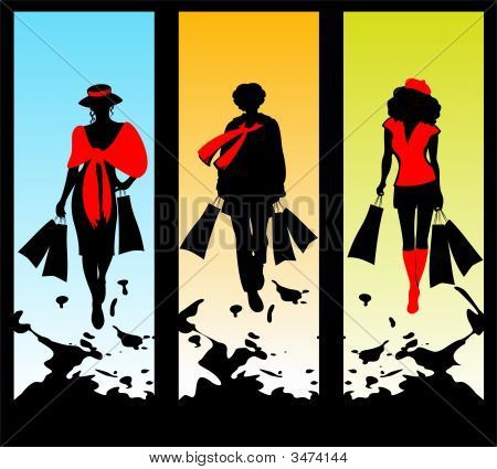 Three Women And Shopping